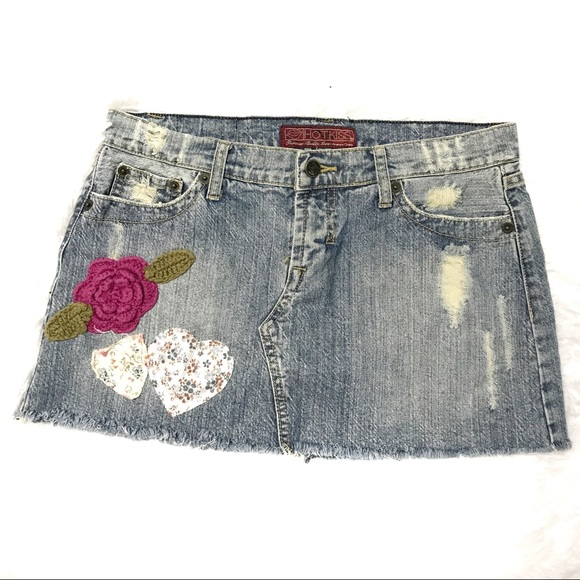 Hot Kiss Dresses & Skirts - Size 28 distressed patch embellished mini skirt